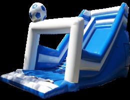 Niebieska zjeżdżalnia z możliwością doklejenia banerów na dmuchańca